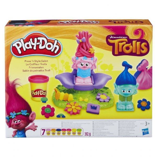 Play Doh Playdoh Dreamworks Trolls Press 'n' Style Salon inc 2 Figures
